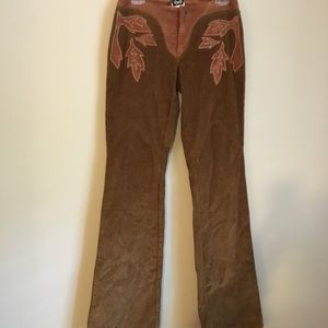Dolce and gabbana corduroy and suede flare pants